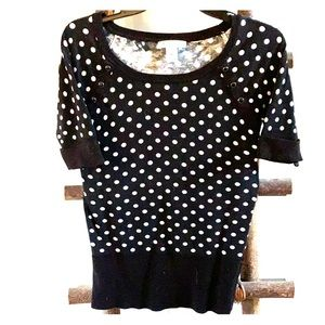 Blacks and White Polka Dotted Sweatshirt